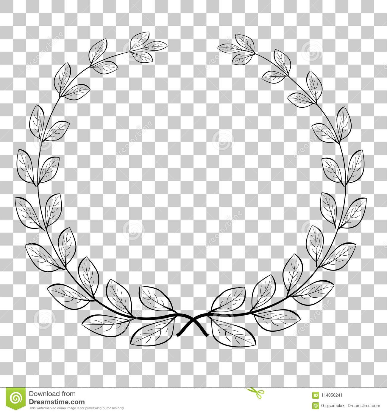 Circle Border Transparent - Doodle Circle Laurel Wreath Vector Icon, For Your Title Border, At ...