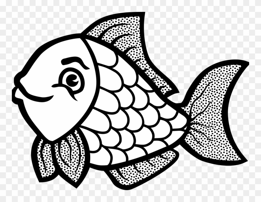 Goldfish Coloring Page Png - Download Fish Coloring Page - Cute Fish Clipart Black And White ...