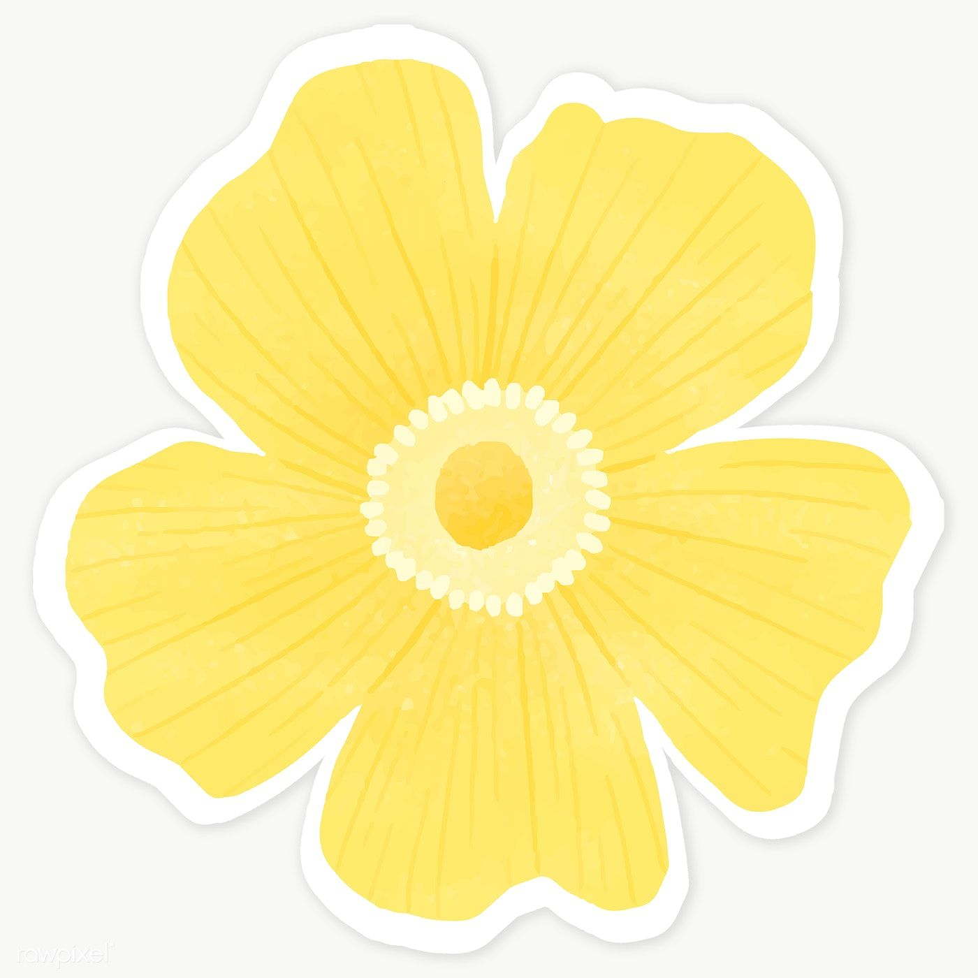 Flowers Stickers Png - Download premium illustration of Yellow flower sticker transparent ...