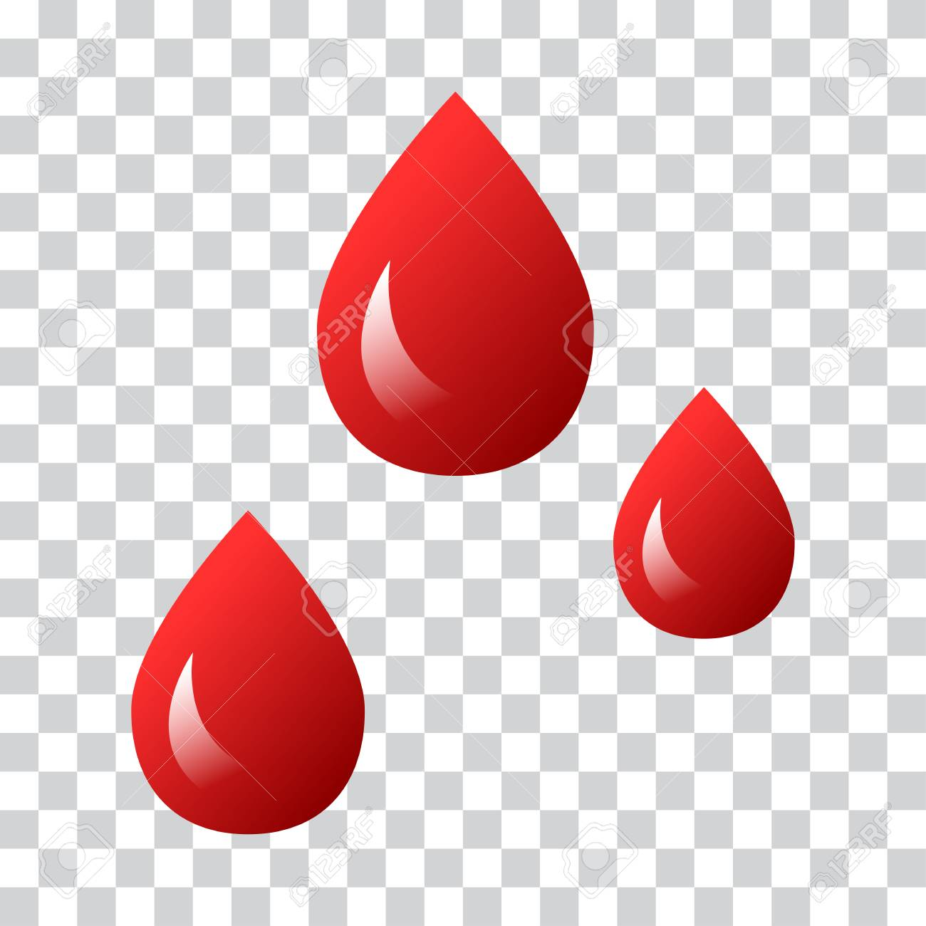 Blood Drop Transparent - Drops Of Blood Icon On Transparent Background Vector Illustration ...