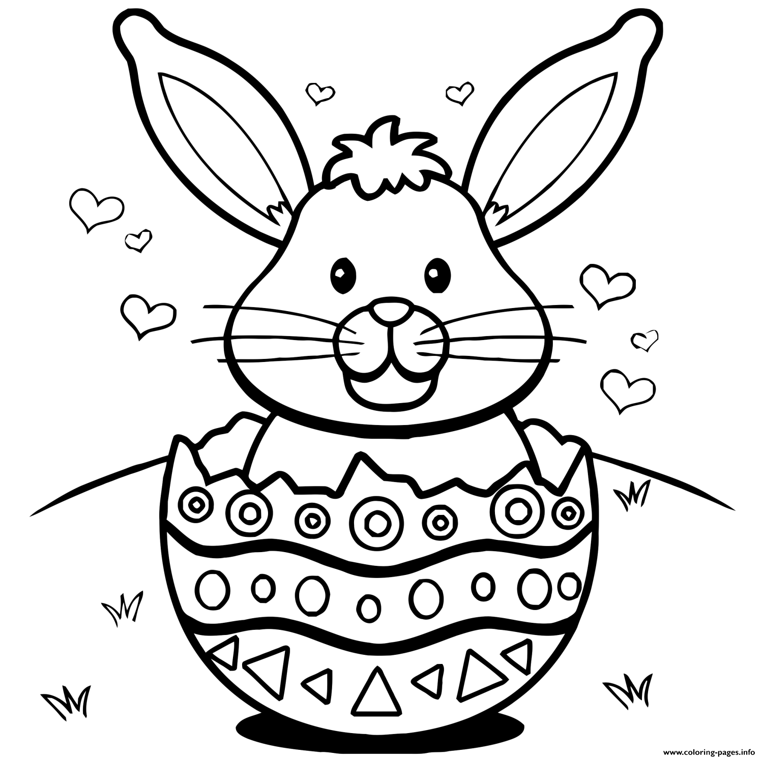 - Easter Bunny Eggs Hearts Coloring Pages #1592186 - PNG Images - PNGio