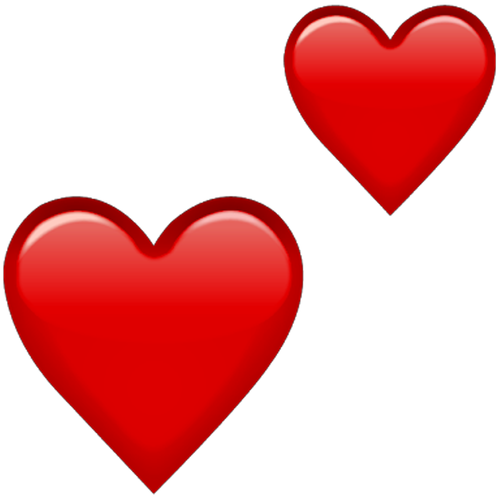 Double Heart Png - Emoji Red Hearts Png Double