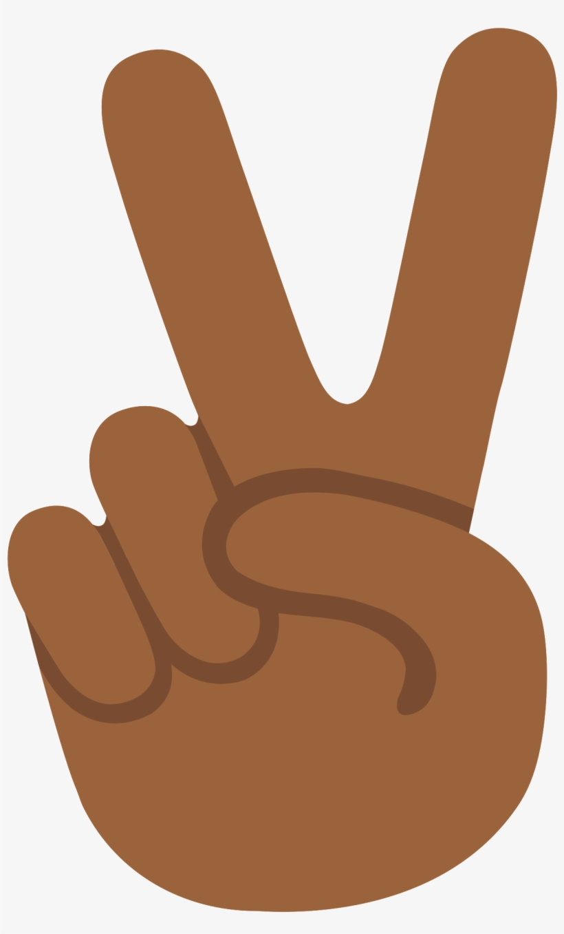 Peace Sign Emoji Png - Emoji U270c 1f3fe - Peace Sign Hand Emoji Brown Png Transparent ...