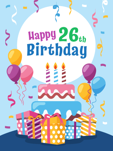 Happy 28th Birthday Png - Fabulous Cake & Presents! Happy 28th Birthday Card | Birthday ...