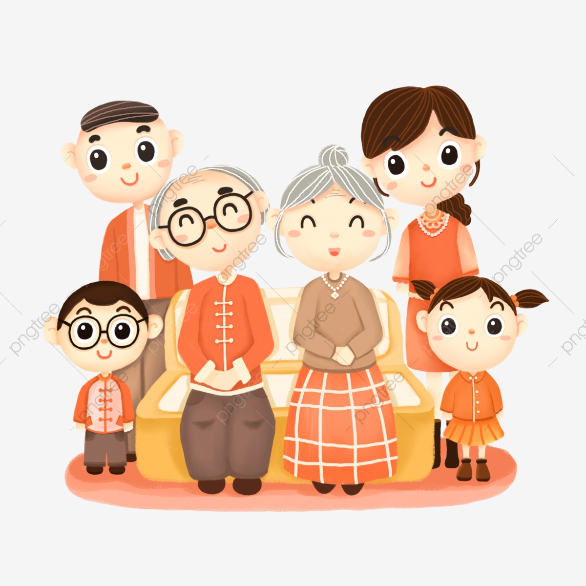 Family Portraits Png - Family Portrait Elderly Elders Parents Children Cartoon, Family ...