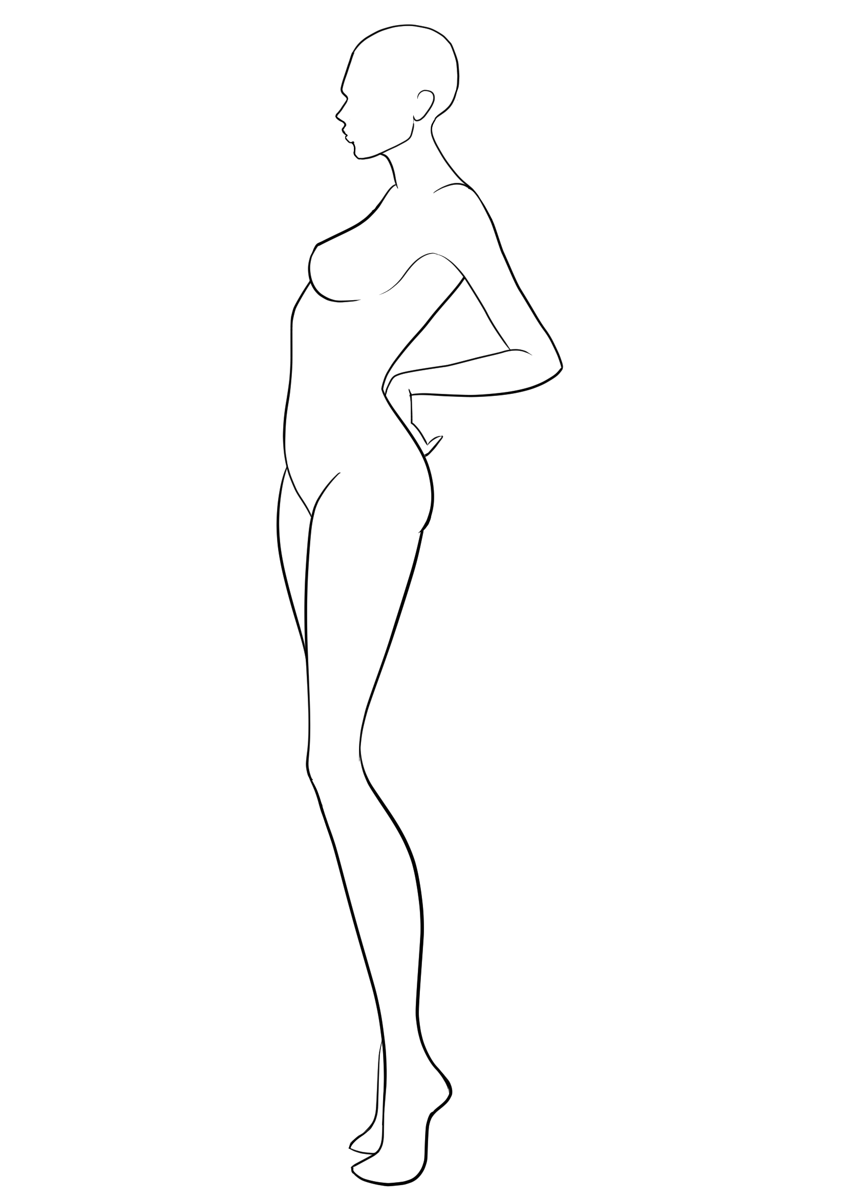 Body Drawing Png Side - Fashion Template #38. Side view fashion figure template. Blank ...