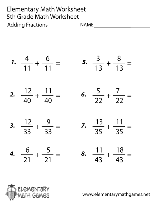 Fifth Grade Adding Fractions Worksheet #84981 - PNG Images - PNGio