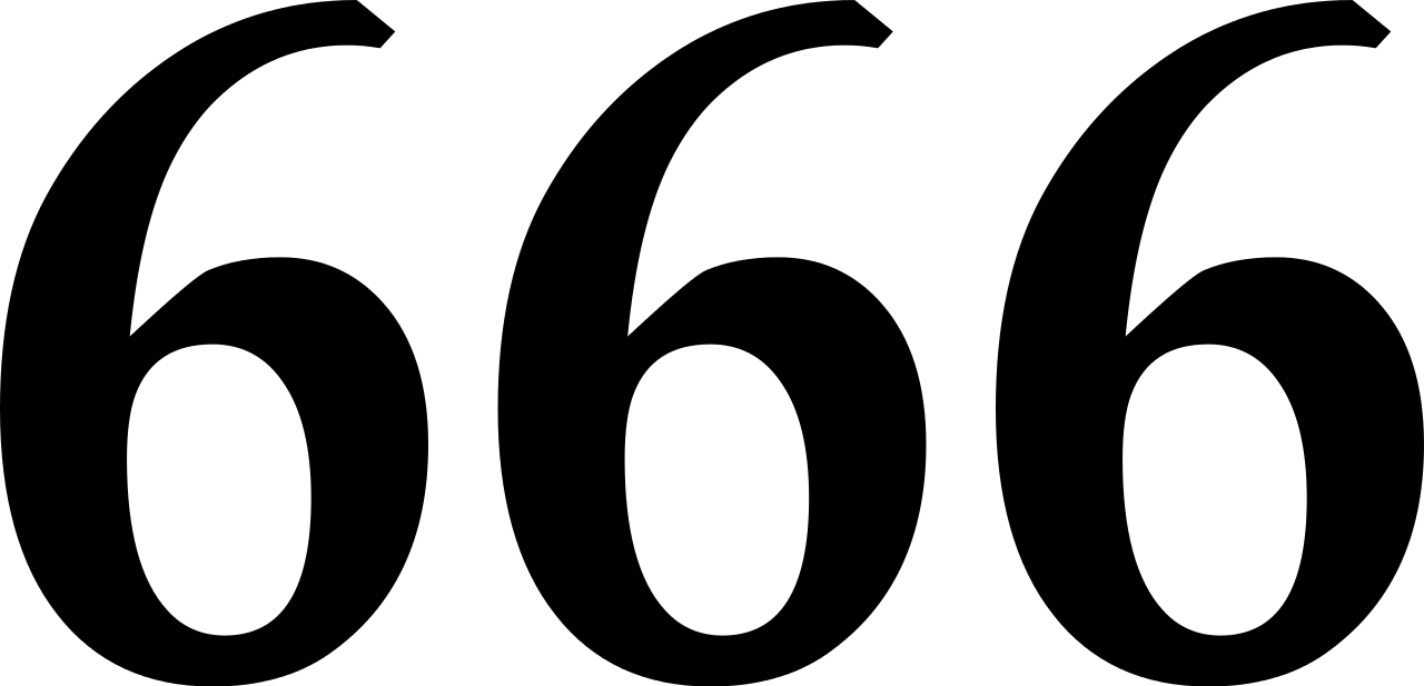 666 Transparent - File:666.svg - Wikimedia Commons