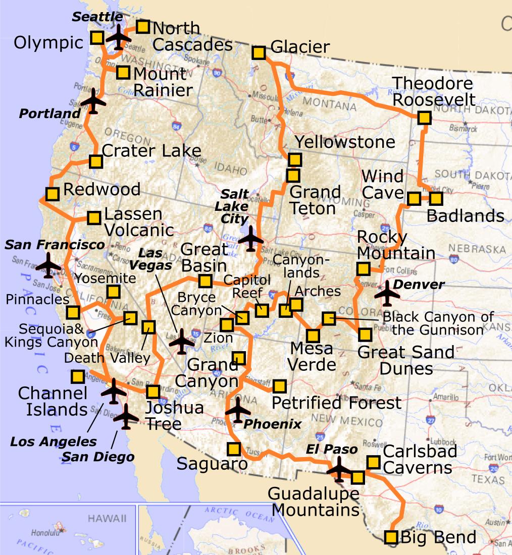 Map Of Western Us National Parks | Map nhautoservice
