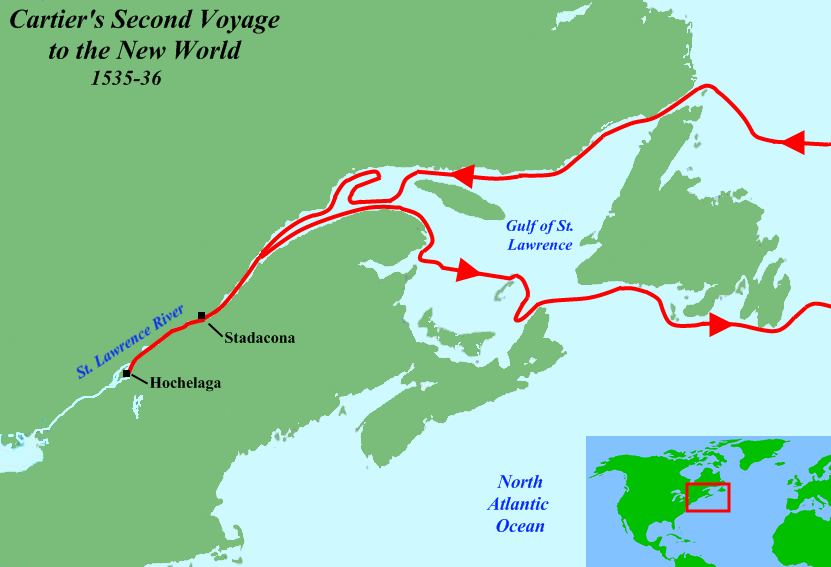 Jacques Cartier Water Route Png - File:Cartier Second Voyage Map 1.png - Wikimedia Commons