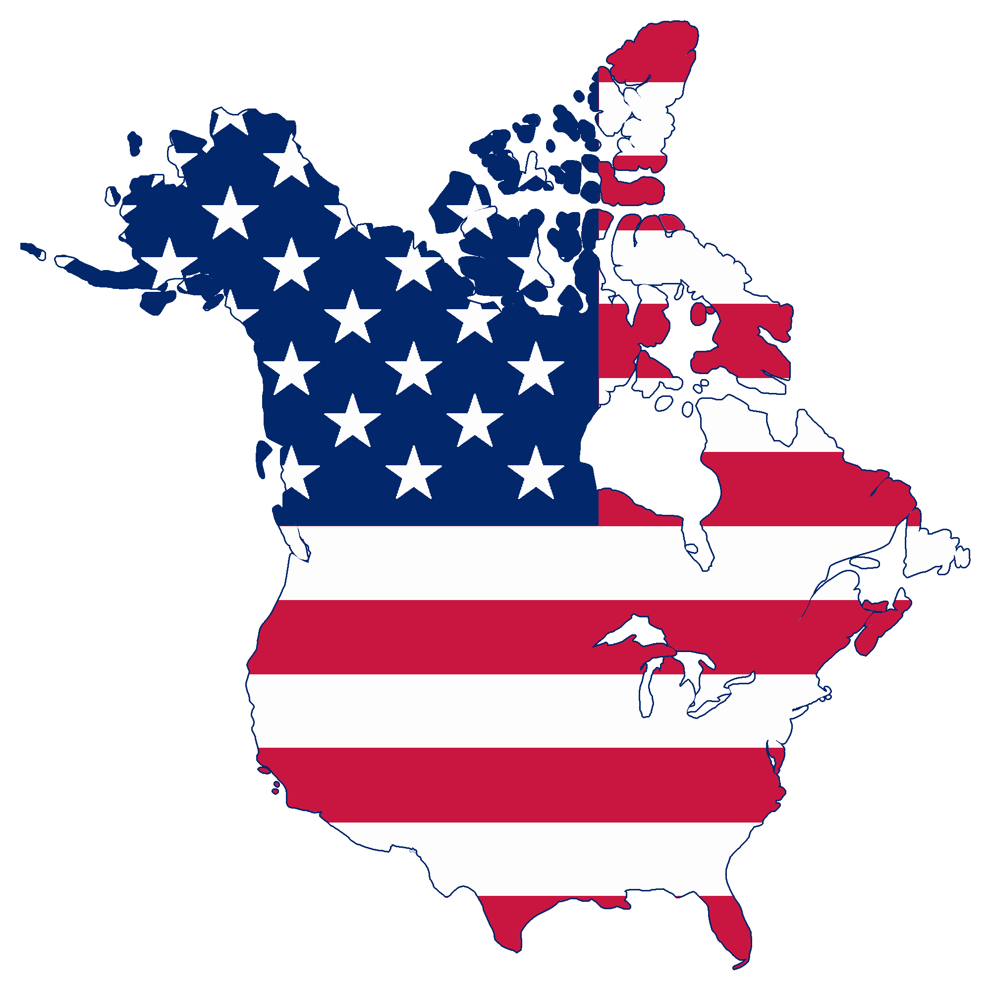 American Flag Png - File:Flag map of Canada and United States (American Flag).png