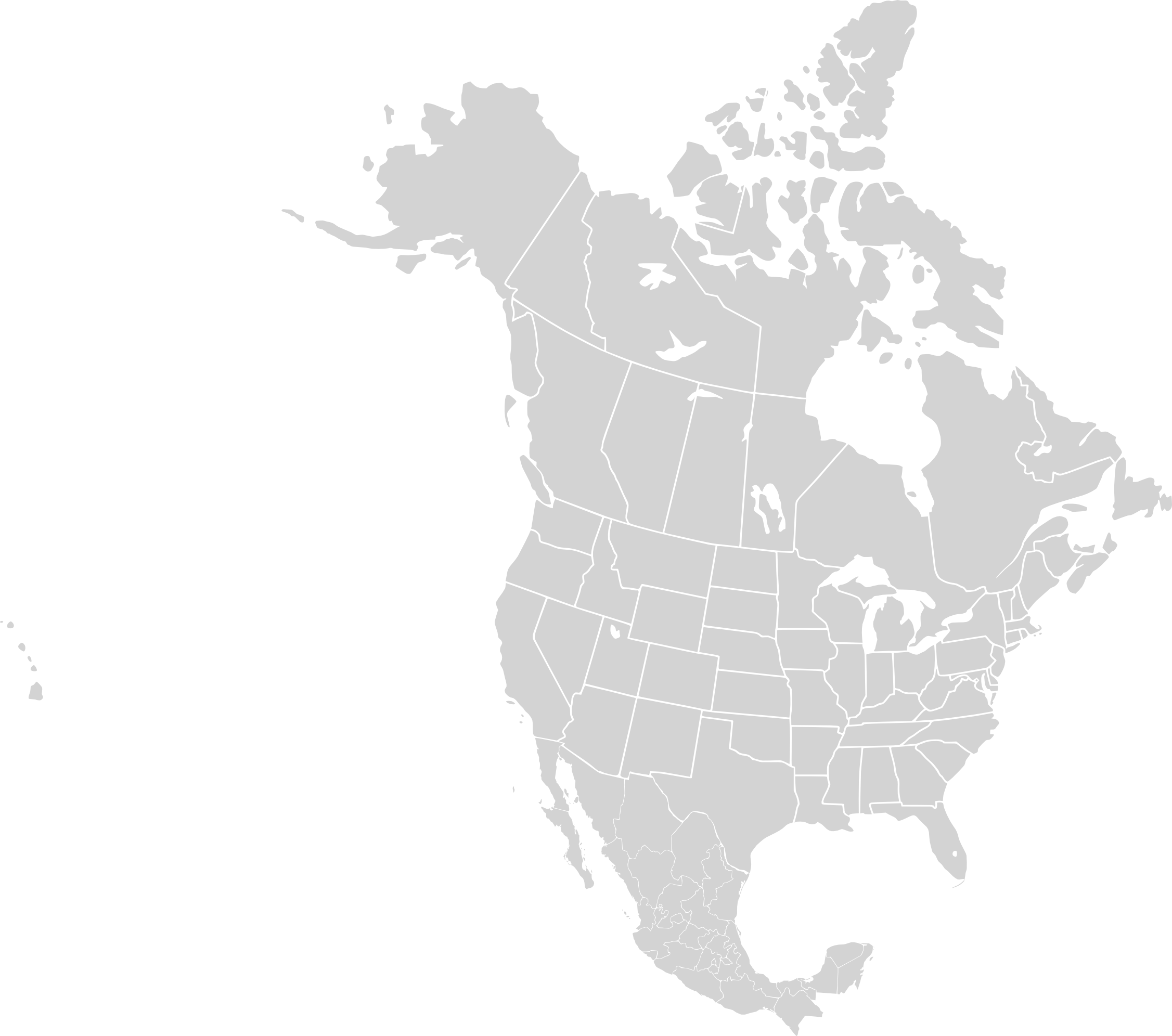 North America Map Png - File:North america blank range map.png