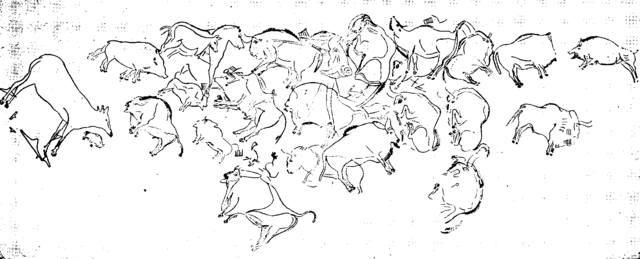Cave Of Altamira Png - File:Outline of cave paintings, Altamira.png - Wikipedia