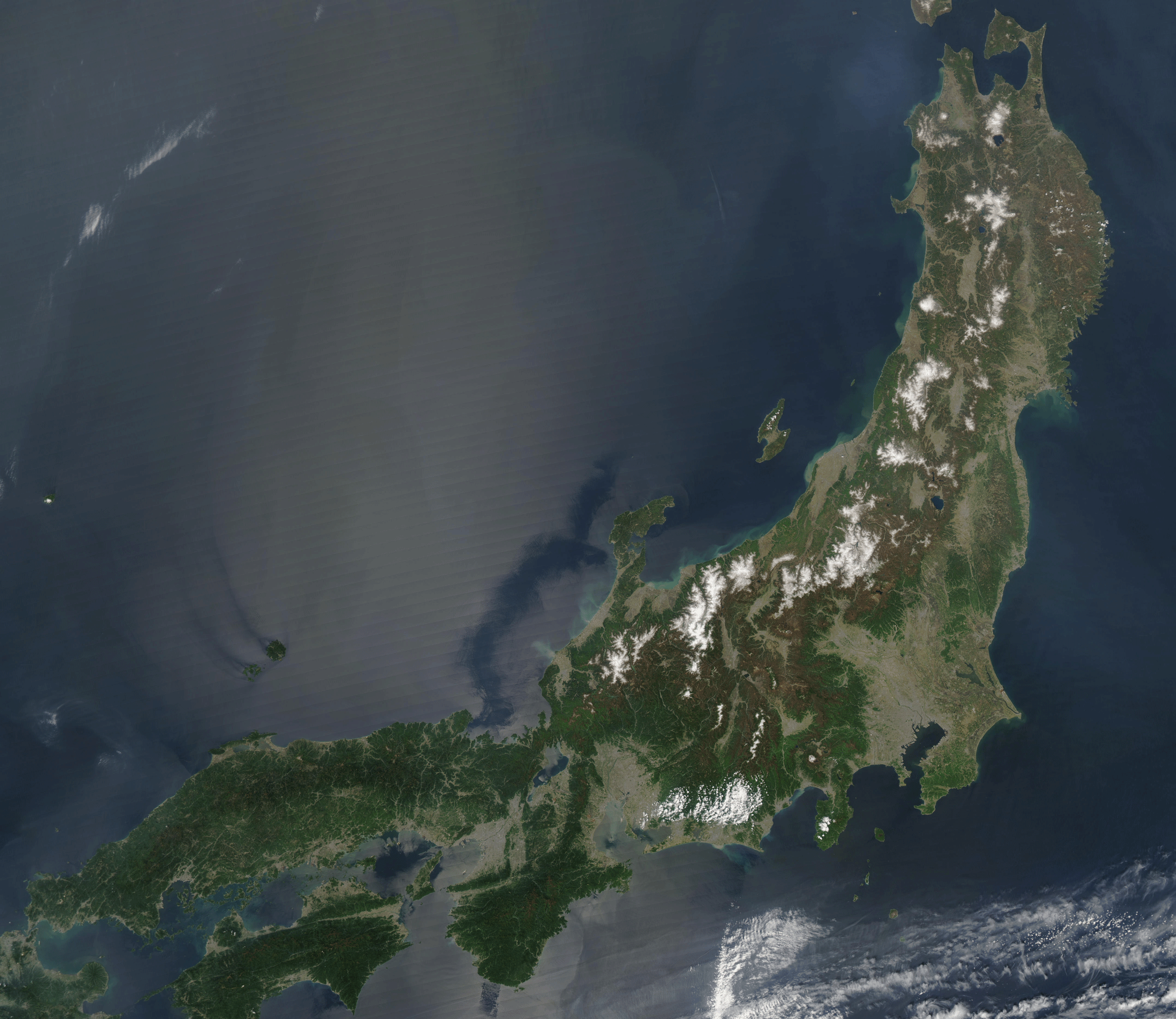 Honshu Png - File:Satellite image of Honshu in May 2003.png - Wikimedia Commons