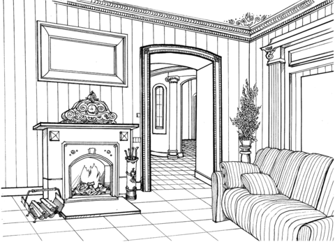 Fireplace Room Coloring Page Free Printable Coloring Pages #1623251 - PNG  Images - PNGio