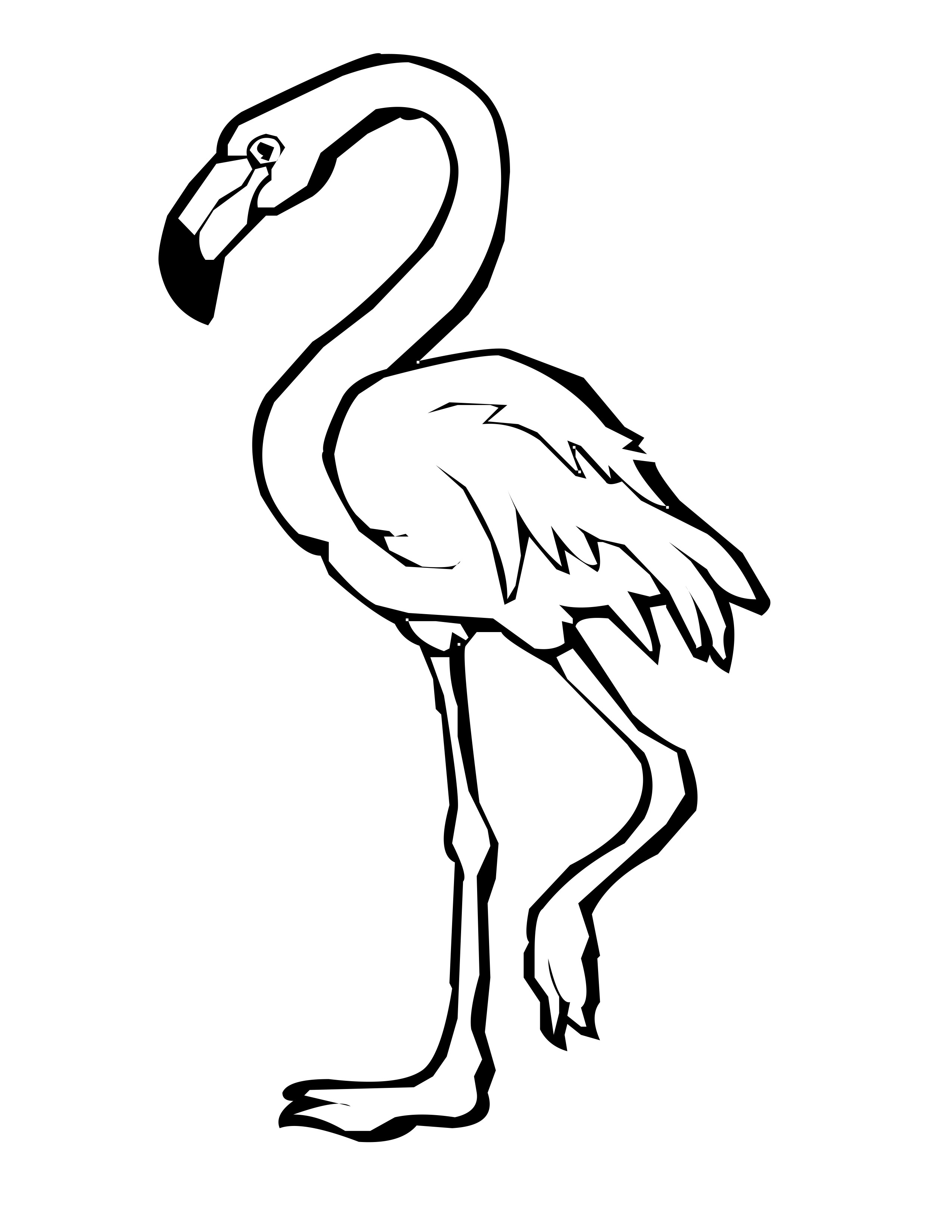 Flamingo outline. Cute png black and