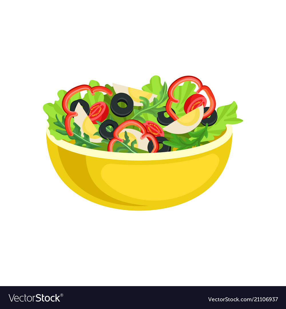 Salad Vector Png - Flat icon of yellow bowl with tasty salad Vector Image