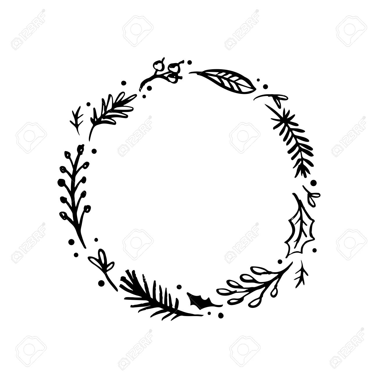 Leaf Wreath Clipart - Floral Rustic Branch And Leaves Wreath For Wedding Invitation ...
