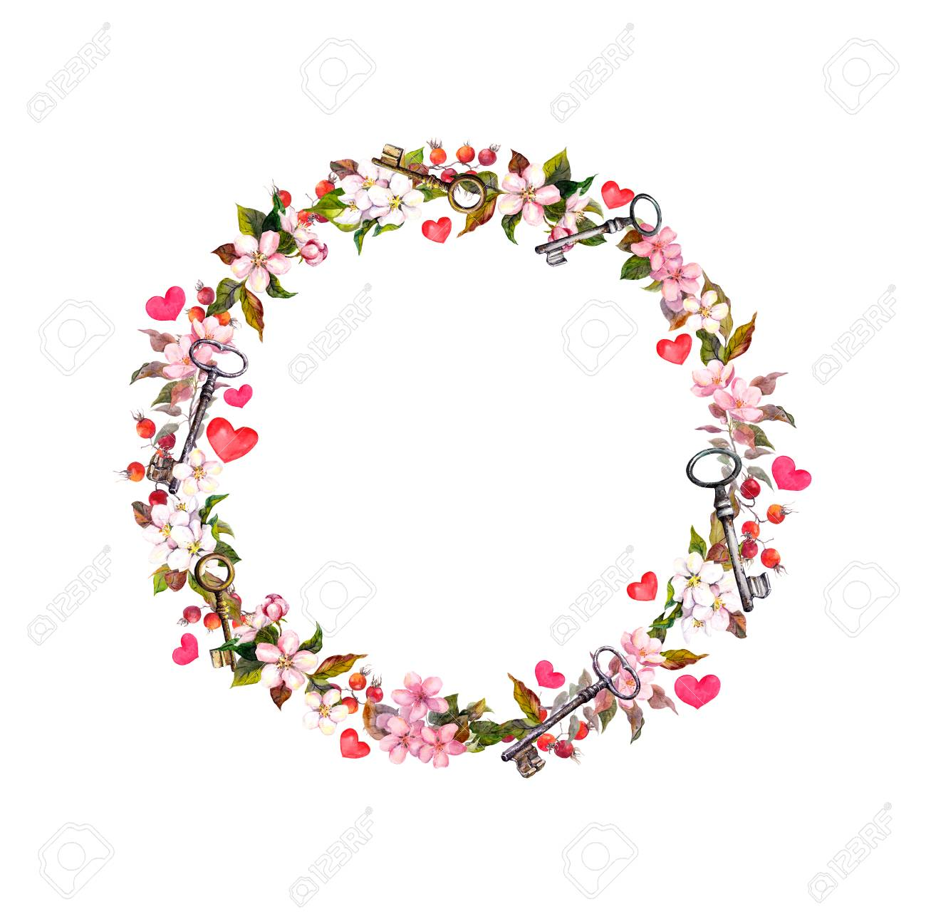 Circle Flower Border - Floral Wreath With Pink Flowers, Hearts, Keys. Watercolor Circle ...