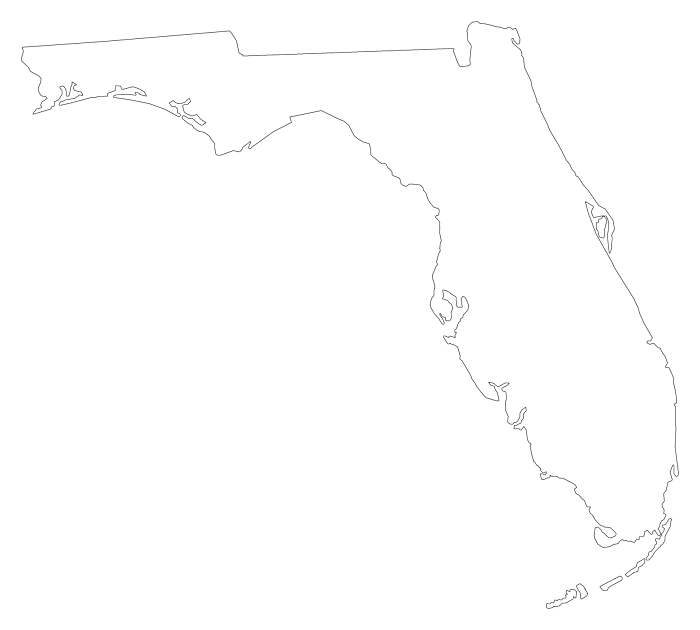 """Florida Png - Florida """"Plain Frame"""" Style Maps in 30 Colors"""