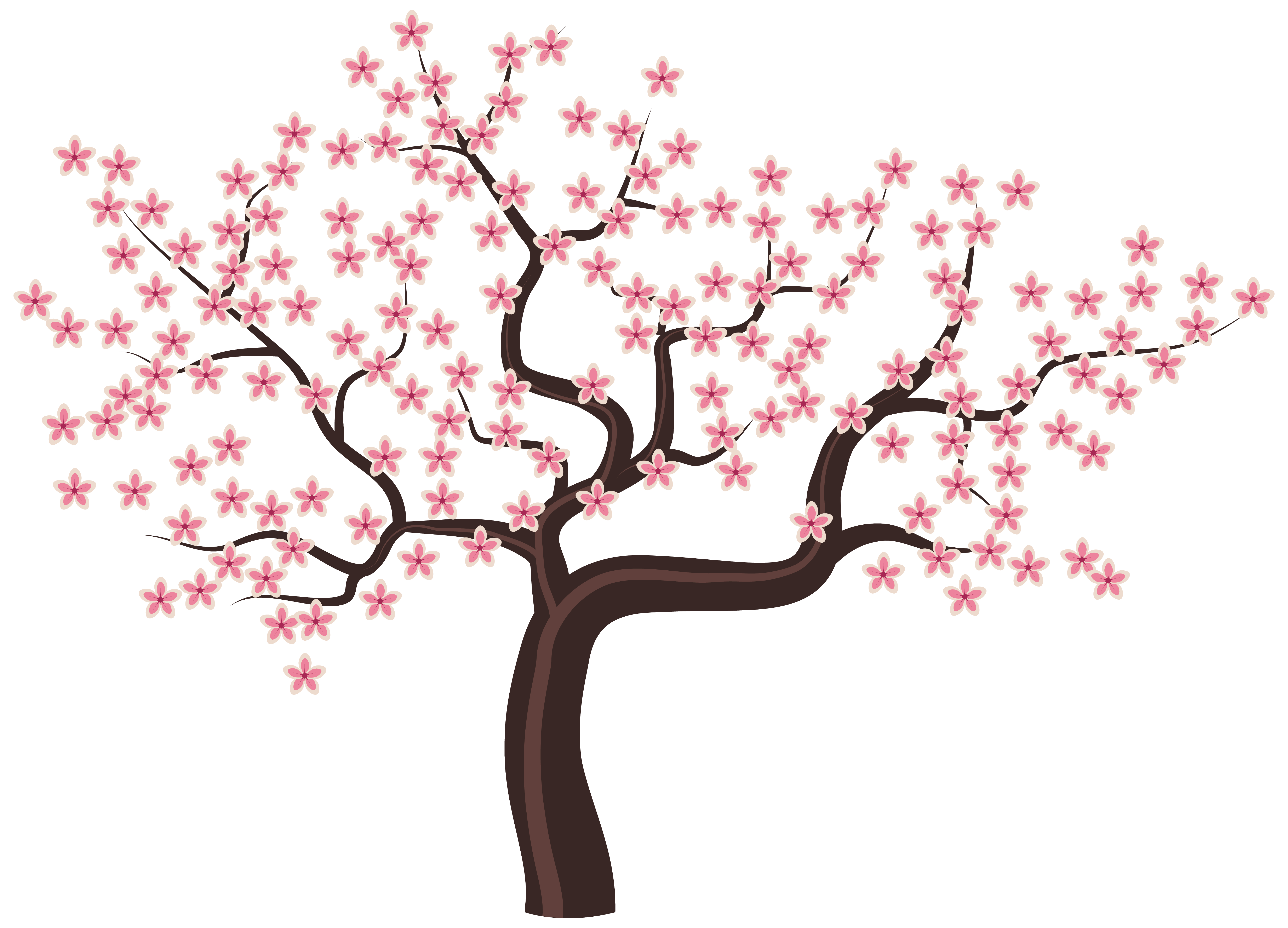 Png Tree With White And Pink Flowers - Flower tree vector download png - RR collections