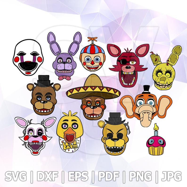 Fnaf Clipart - FNAF SVG Five nights at Freddy Vector Clipart Birthday Party | PNGio