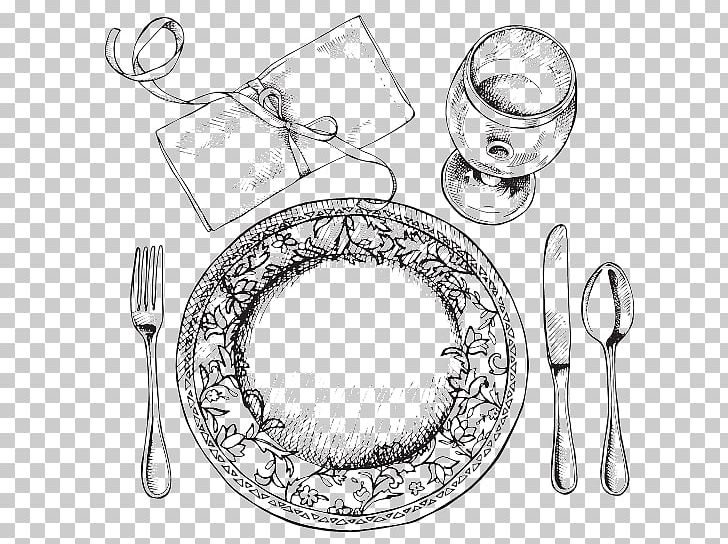 Table Setting Black And White Png - Fork Table Setting Cloth Napkins Plate PNG, Clipart, Artwork ...