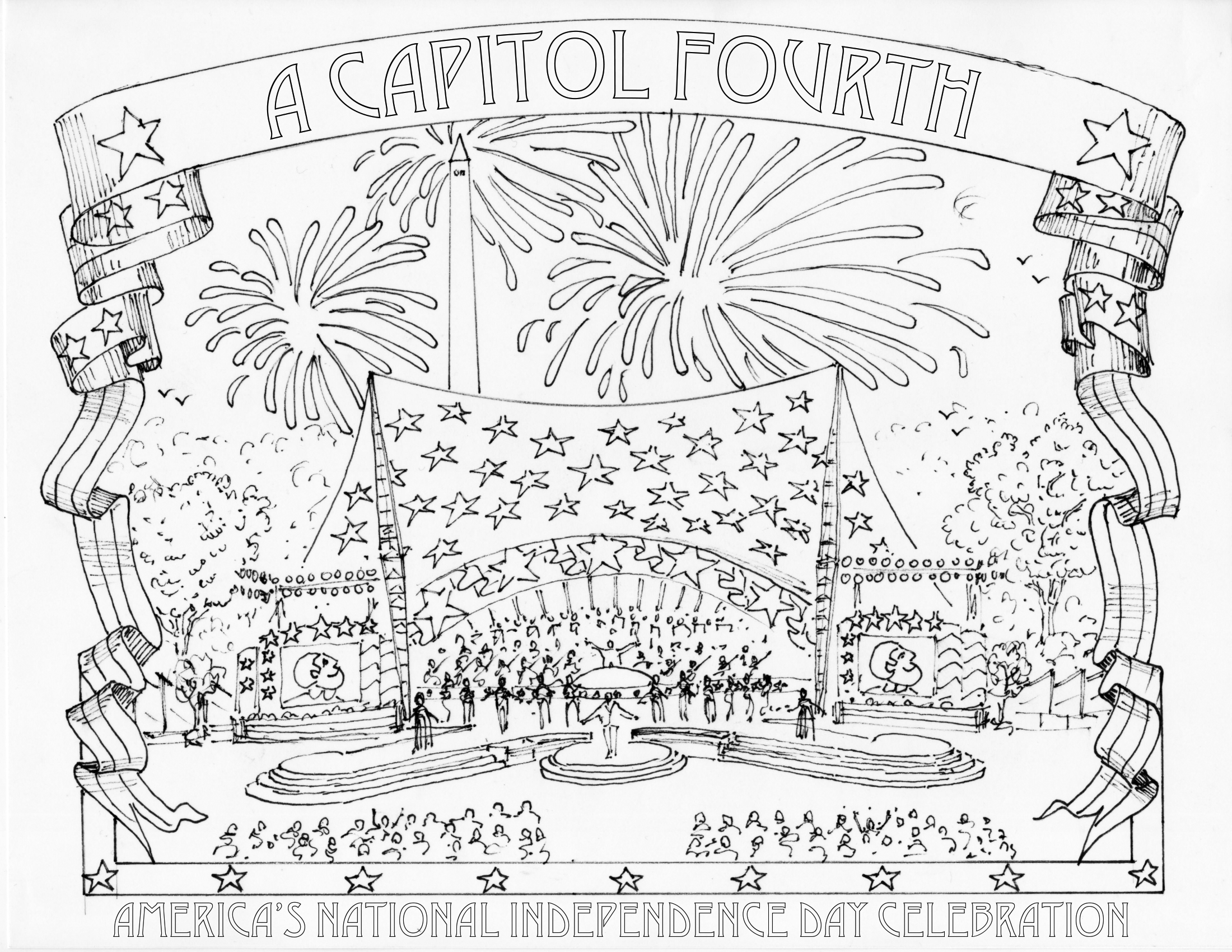 It's just a picture of Fourth of July Printable Coloring Pages in clipart