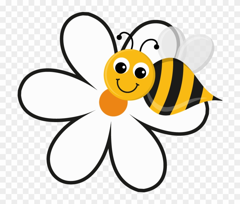 Flower And Bee Png - Free Bee And Flower Clipart Image 5149, Bee And Flower - Cartoon Bee On A  Flower