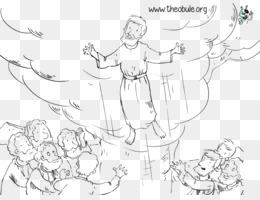 Jesus Christ Ascension Day Png Black White - Free download Ascension Day Coloring book Apostle Line art ...