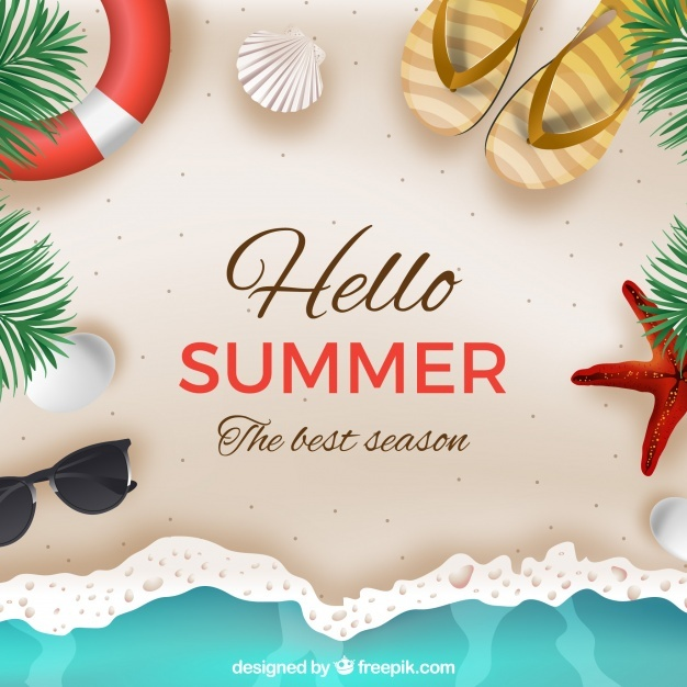 Summer Food Background Png - Free Hello summer background with beach in realistic style SVG DXF ...