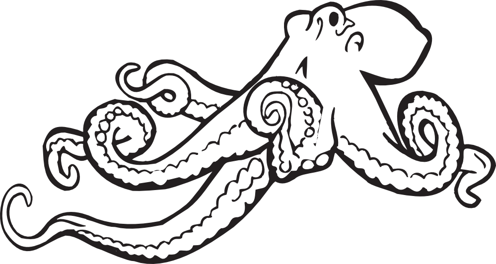Cute Octopus Png Black And White - Free Octopus Outline, Download Free Clip Art, Free Clip Art on ...