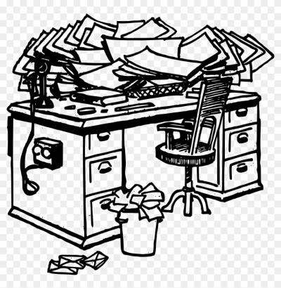 Black And White Png Man At Messy Desk - Free PNG Images & Free Vectors Graphics PSD Files - DLPNG.com
