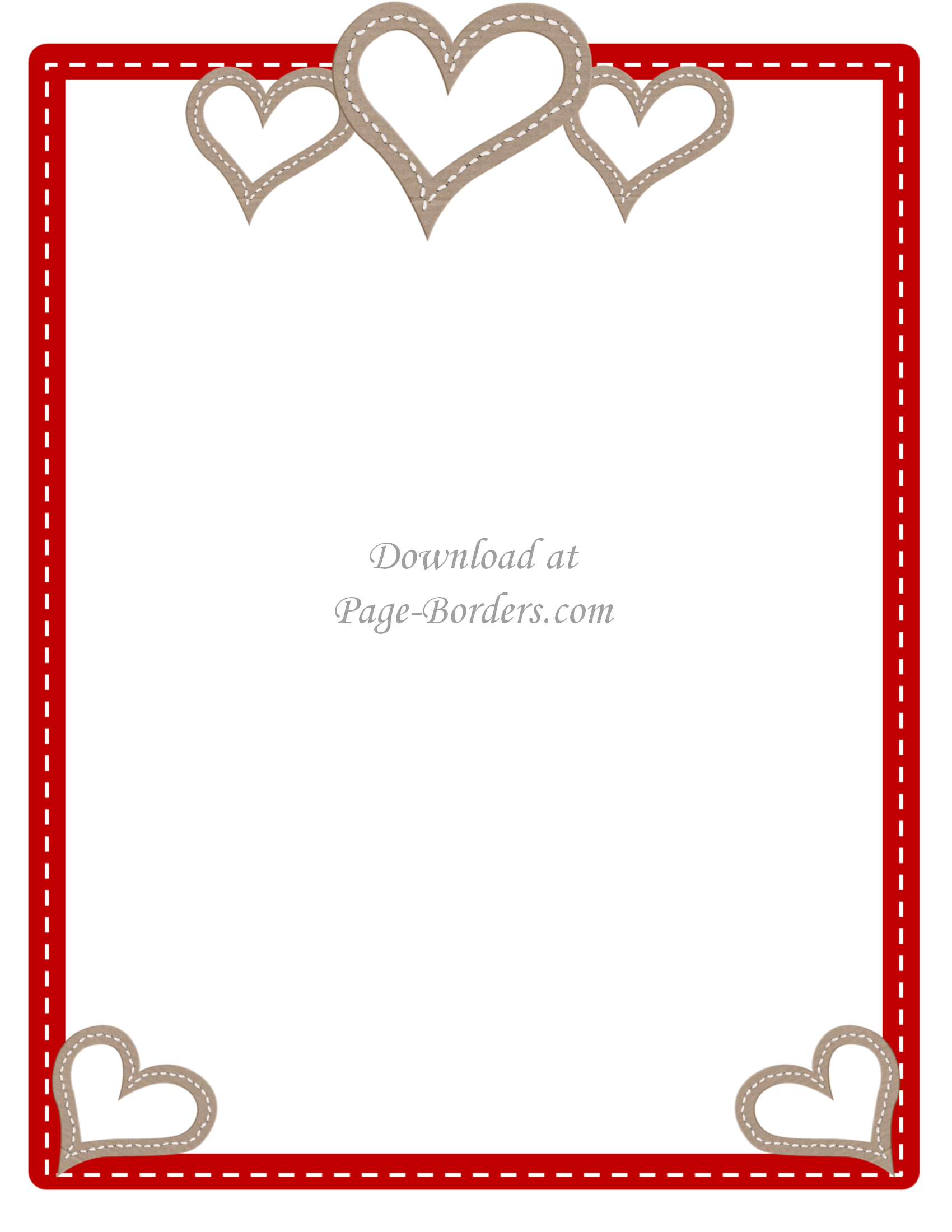 Heart Page Border Png - Free Printable Heart Border   Customize online or download as is