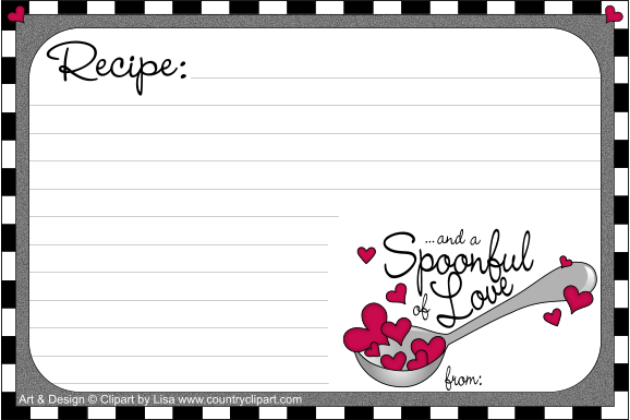 Recipe Card Template 4 X 6 Png - Free Printable Recipe Cards|Country Clipart by Lisa