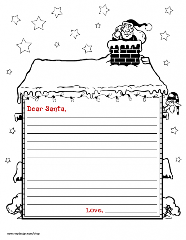 image relating to Printable Santa Stationary called Santa Stationary Png Black And White Free of charge Santa Stationary