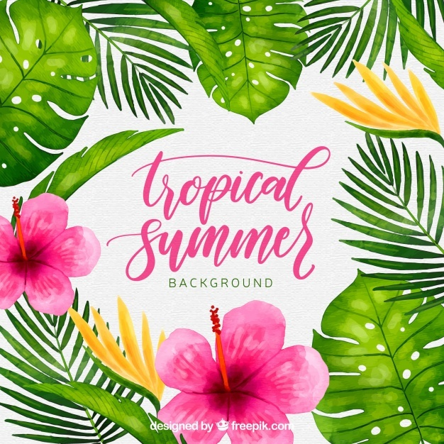 Tropical Background Png - Free Tropical background with watercolor plants and flowers SVG ...
