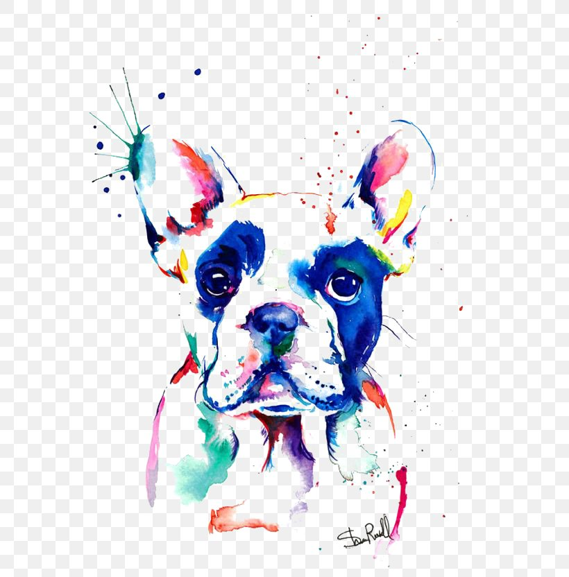 French Bulldog Art Png - French Bulldog Watercolor Painting Drawing, PNG, 564x832px, French ...