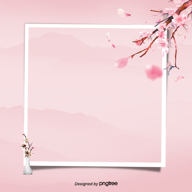Png Tree With White And Pink Flowers - Front Pink Squares Sakura Pink Flower Card, White, Square, The ...