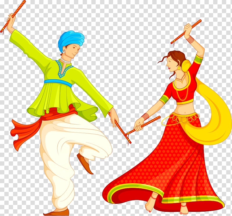 Dance Art Png - Garba Dandiya Raas , Indian dance , two girl in red and green ...