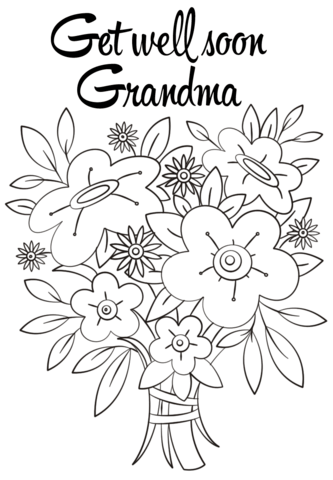 Get Well Soon Png Black And White - Get Well Soon Grandma coloring page | Free Printable Coloring Pages