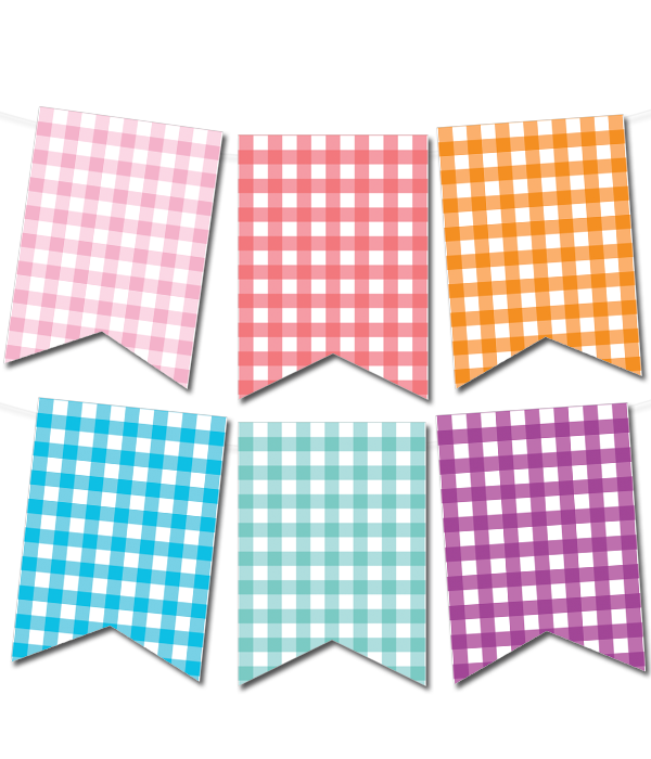 Colorful Banner Template Png - Gingham Printable Pennant Banner (in 12 colors) - Chicfetti