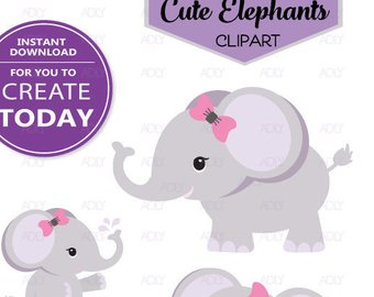 Girl Elephant Png - Girl Elephant shower, baby Gray purle pink bow tie elephant clip art, png  file, baby shower, birthday, create t-shirt,invitation,design
