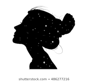 Girl Silhouette - Girl Silhouette Head and Stars Images, Stock Photos & Vectors ...