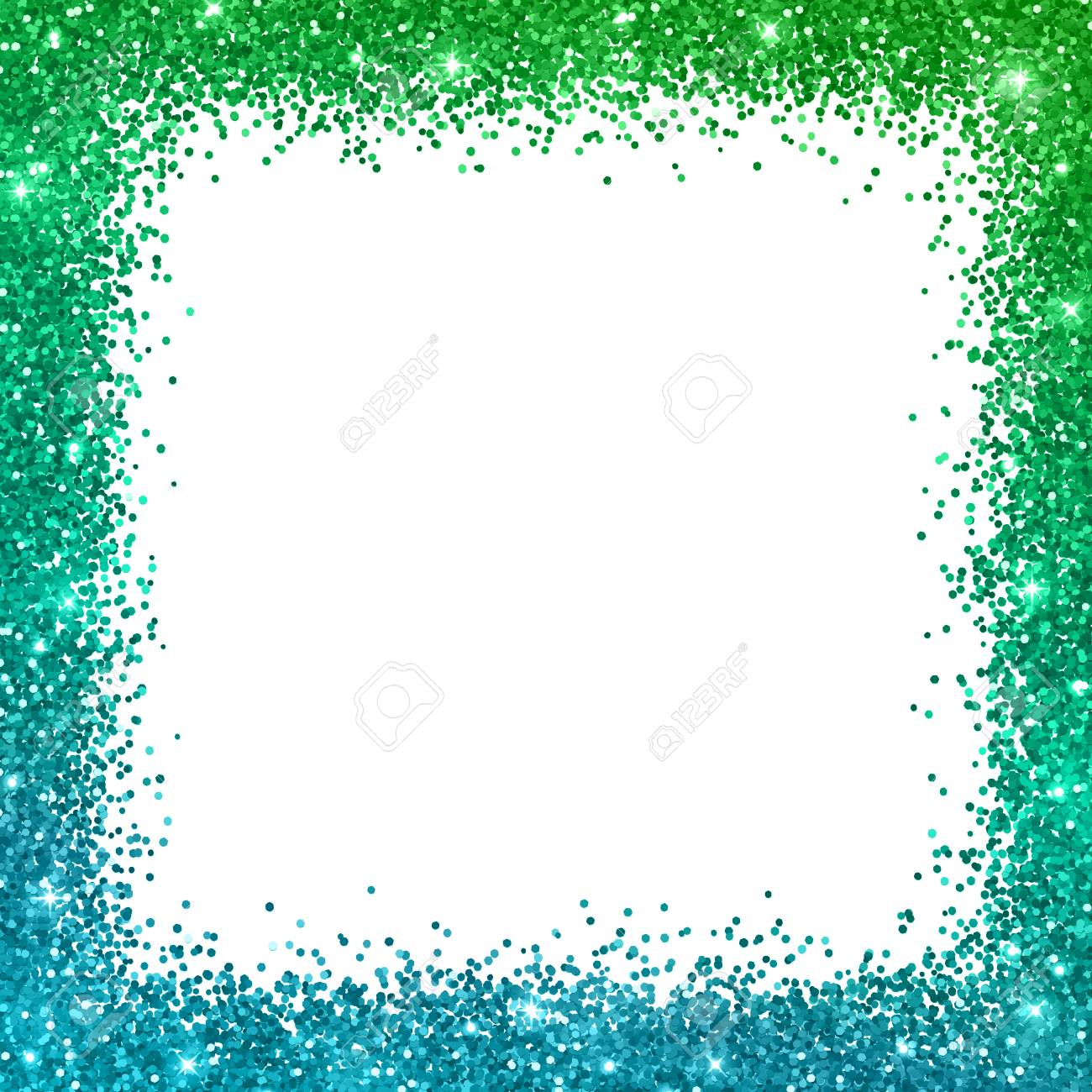 Square Border - Glitter Square Border Frame With Blue Green Color Effect, On ...