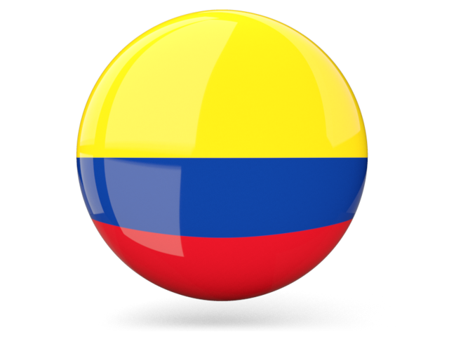 Flag Of Colombia Png - Glossy round icon. Illustration of flag of Colombia