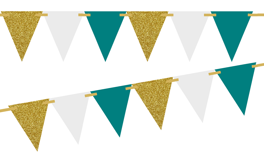 Triangle Banner Png - Gold Glitter/Solid Teal/Solid White 10ft Vintage Pennant Banner ...