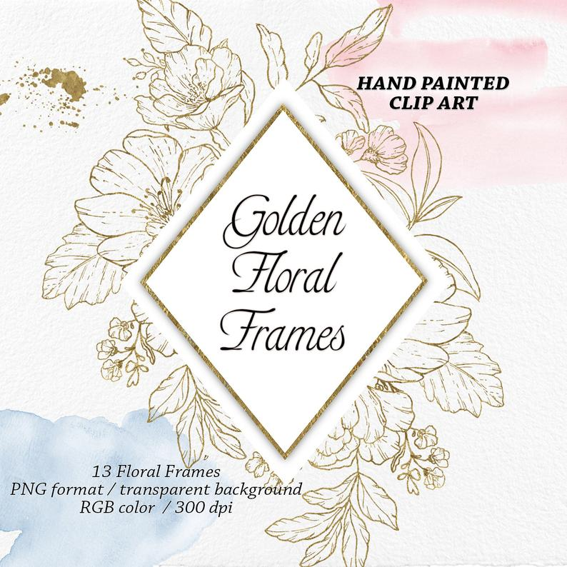 Skirt Png No Backgroun - Golden Floral Frames Clip Art Golden Graphic Flowers | PNGio