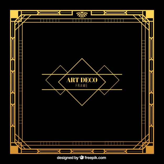 Free Art Deco Png Frames - Golden frame in art deco style Vector | Free Download