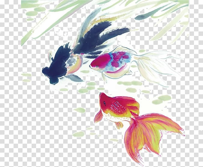 Hand Painted Wallpaper Png - Goldfish Ink wash painting , Hand-painted fish transparent ...